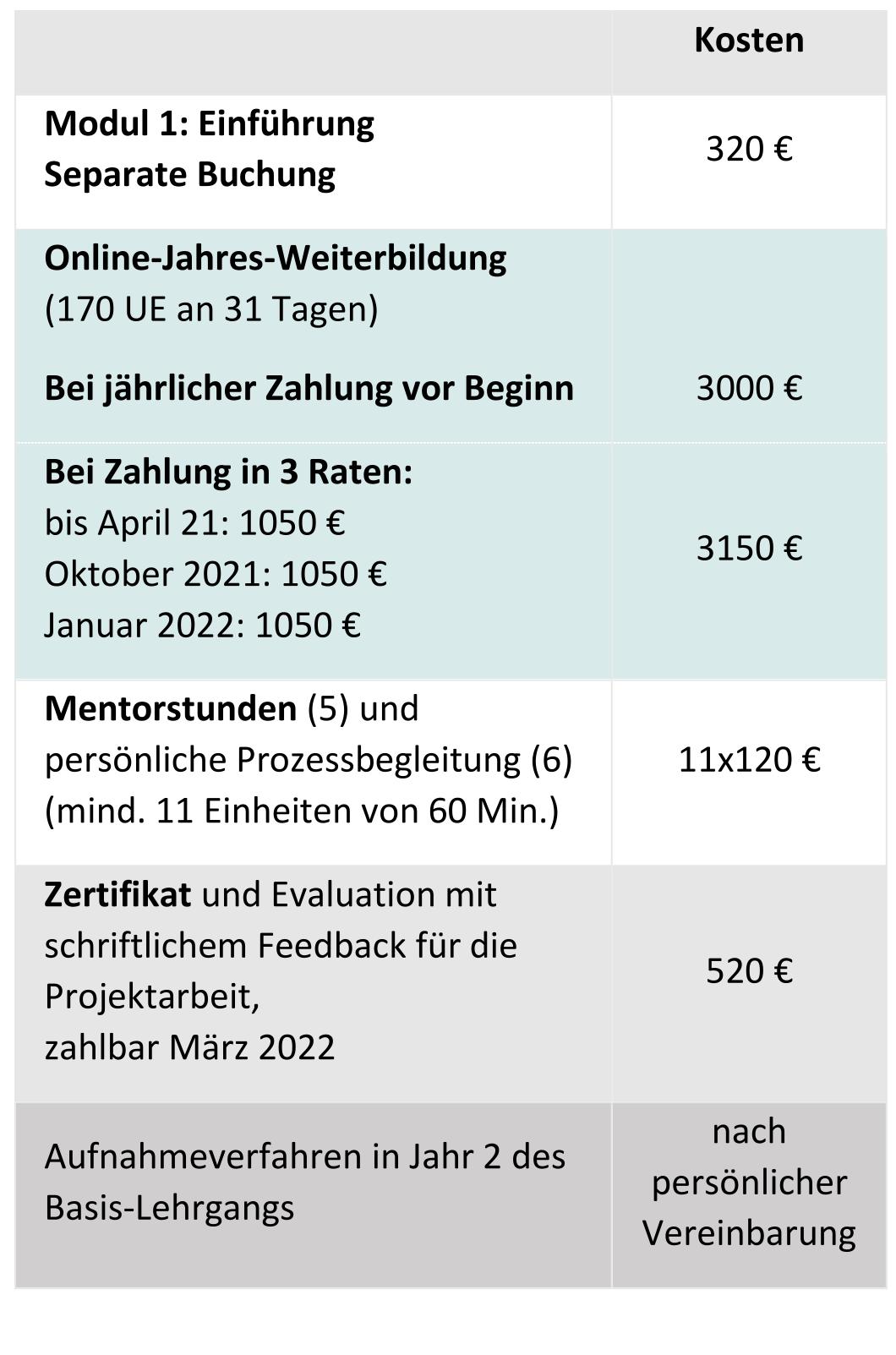 Kosten Online Jahresweiterbildung Prozessarbeit